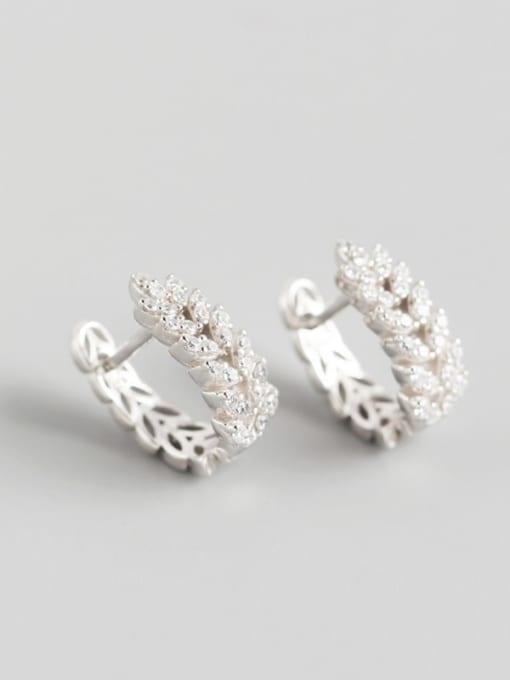 1#Platinum 925 Sterling Silver Cubic Zirconia White Leaf Dainty Huggie Earring
