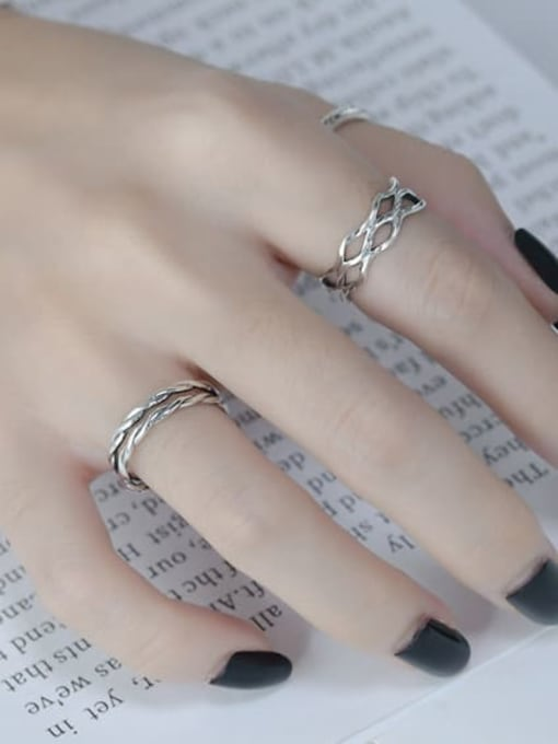 ARTTI 925 Sterling Silver Hollow Geometric Vintage Stackable Ring 1