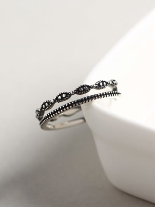 ACE 925 Sterling Silver Geometric Vintage Stackable Ring 1