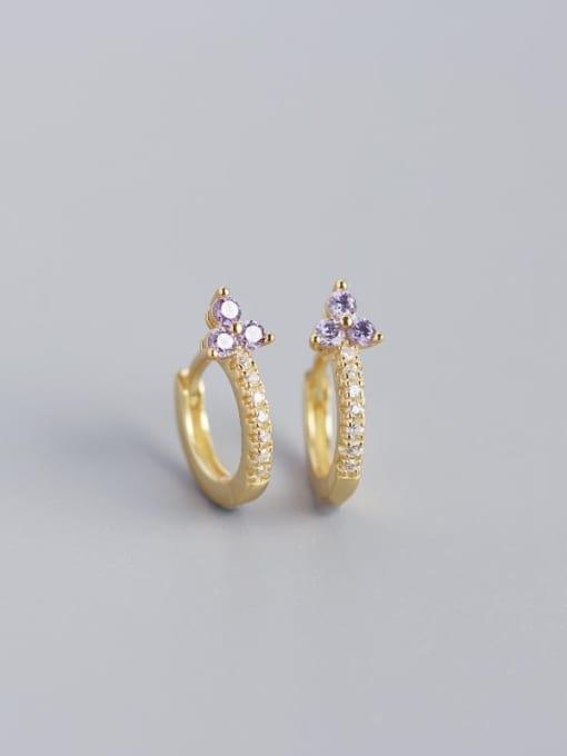 Golden purple stone 925 Sterling Silver Cubic Zirconia Flower Dainty Huggie Earring