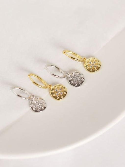 ACE 925 Sterling Silver Rhinestone White Geometric Dainty Huggie Earring 2
