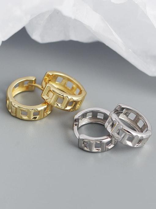 ACEE 925 Sterling Silver Geometric Vintage Huggie Earring 1