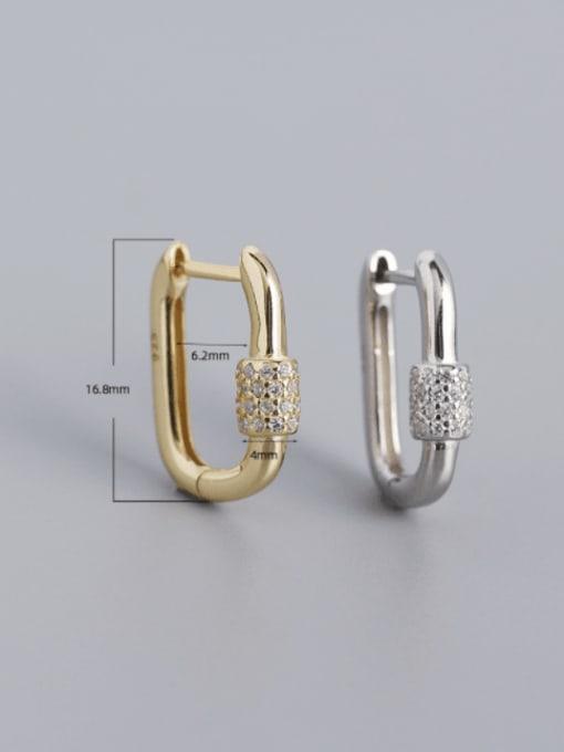 ACE 925 Sterling Silver Cubic Zirconia Geometric Minimalist Huggie Earring 4