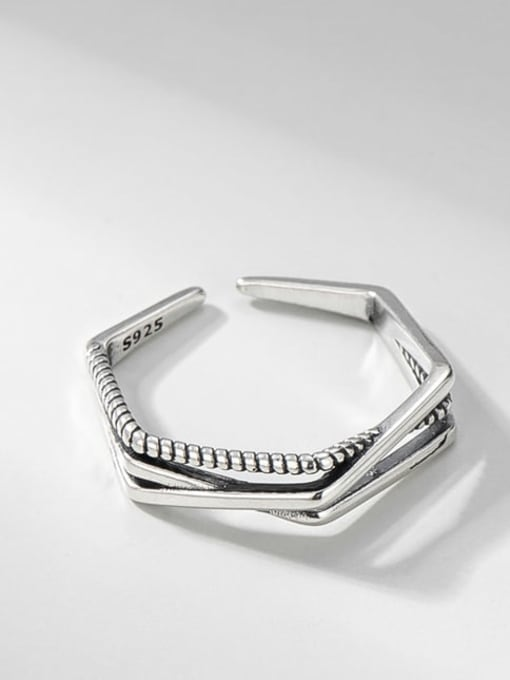 Multilayer ring 925 Sterling Silver Cross Vintage Stackable Ring