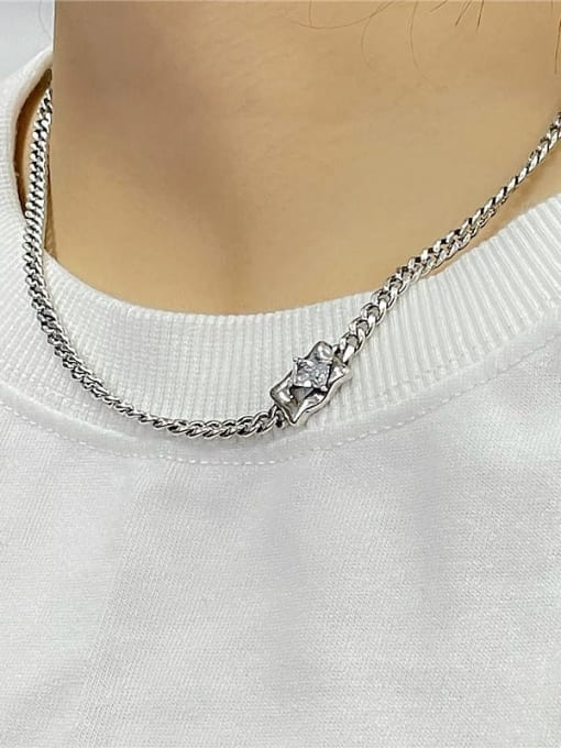 ARTTI 925 Sterling Silver Cubic Zirconia Geometric Vintage Necklace 1