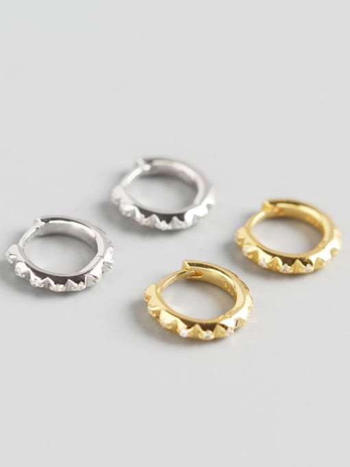 ACE 925 Sterling Silver Rhinestone White Geometric Trend Huggie Earring 0