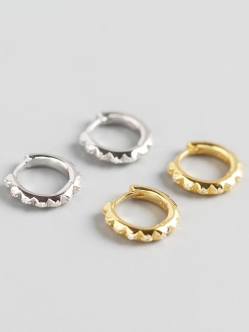 ACE 925 Sterling Silver Rhinestone White Geometric Trend Huggie Earring
