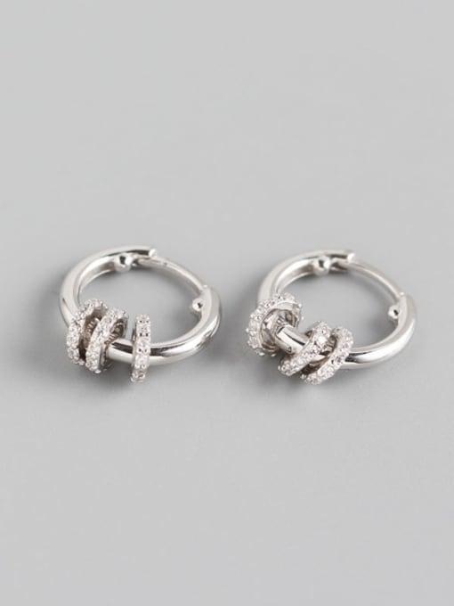 1#Platinum 925 Sterling Silver Rhinestone White Geometric Luxury Huggie Earring