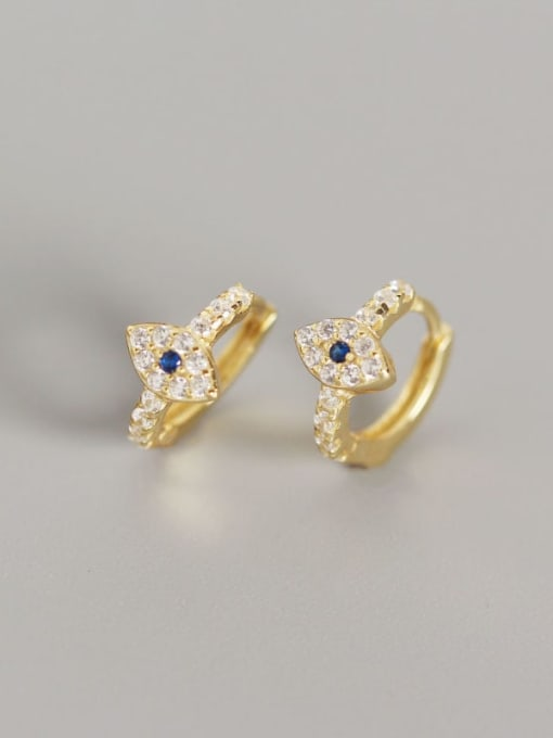 2#Gold 925 Sterling Silver Rhinestone White Evil Eye Gold Plated Trend Huggie Earring