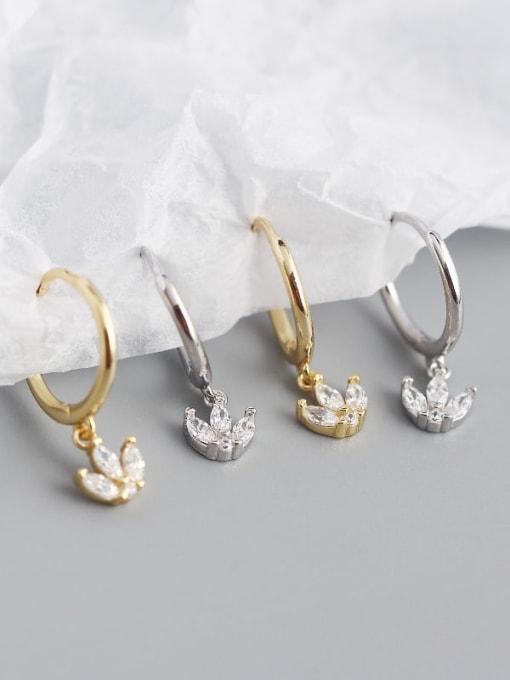 ACE 925 Sterling Silver Cubic Zirconia Leaf Vintage Huggie Earring 2