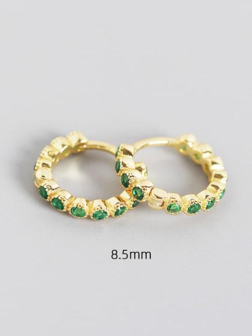 8.5mm golden green stone 925 Sterling Silver Cubic Zirconia Geometric Minimalist Huggie Earring