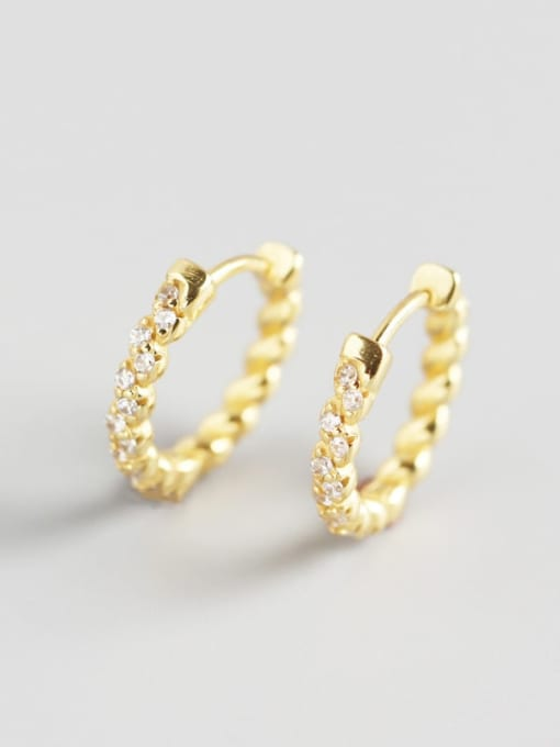 Gold 925 Sterling Silver Rhinestone White Irregular Minimalist Huggie Earring