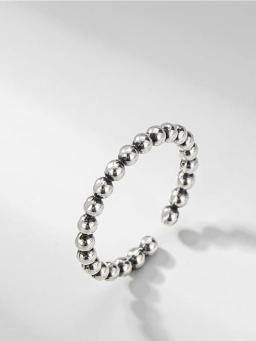 Bead ring 925 Sterling Silver Bead Round Vintage Band Ring