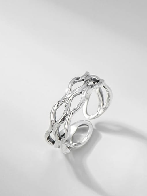 ARTTI 925 Sterling Silver Hollow Geometric Vintage Stackable Ring 0