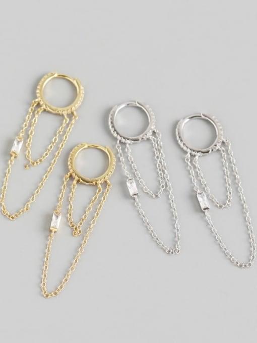 ACE 925 Sterling Silver Tassel Chain Minimalist Huggie Earring 1