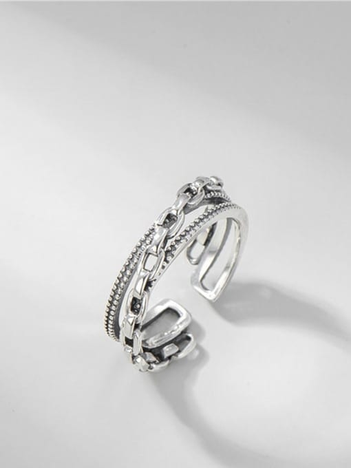 Chain interwoven ring 925 Sterling Silver Geometric Vintage Stackable Ring