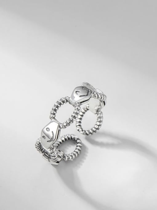 ARTTI 925 Sterling Silver Hollow Geometric Smiley Vintage Band Ring