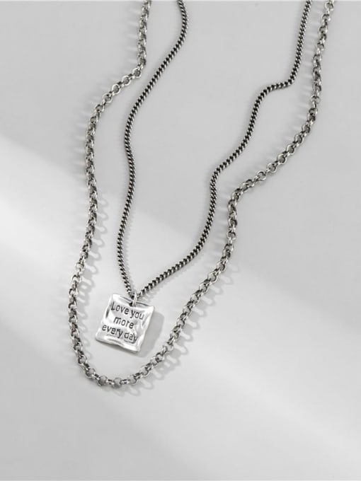 ARTTI 925 Sterling Silver Bead Geometric Vintage Multi Strand Necklace