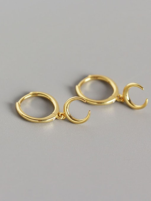 Gold 925 Sterling Silver Moon Classic Huggie Earring