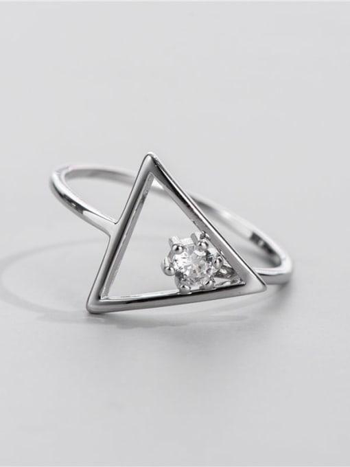 ARTTI 925 Sterling Silver Rhinestone Triangle Minimalist Band Ring 0