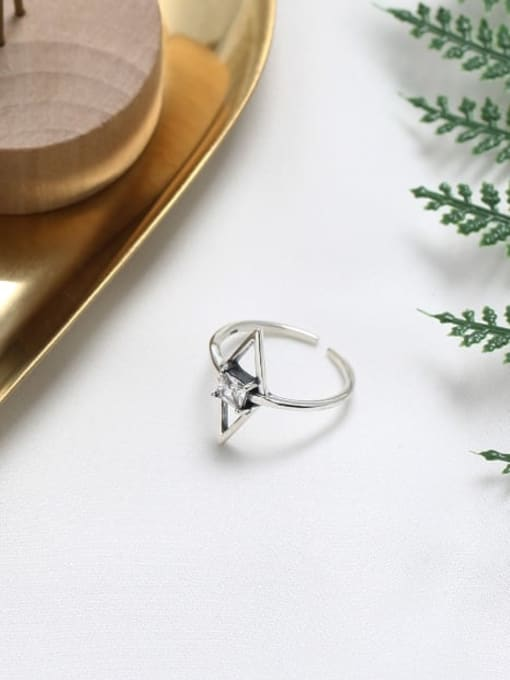 ACE 925 Sterling Silver Cubic Zirconia White Geometric Minimalist Solitaire Ring 3