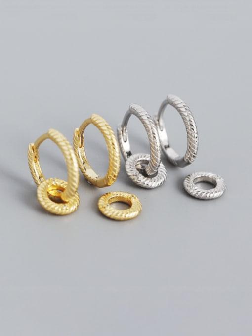 ACEE 925 Sterling Silver Geometric Minimalist Huggie Earring