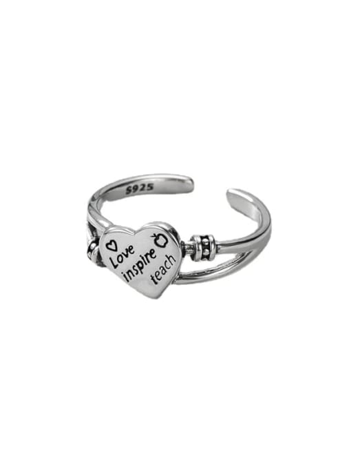 ARTTI 925 Sterling Silver Heart Vintage Band Ring 3
