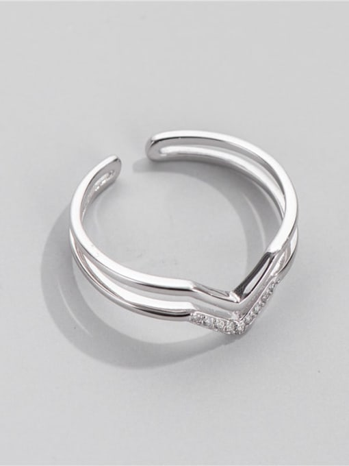 V-ring 925 Sterling Silver Cubic Zirconia Geometric Minimalist Stackable Ring