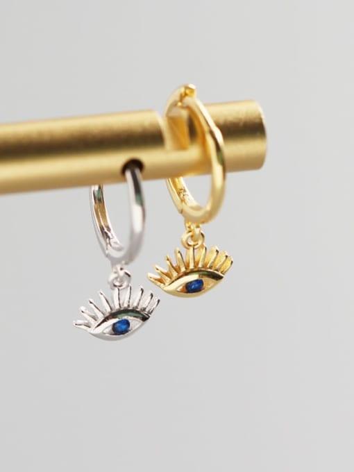 ACE 925 Sterling Silver Cubic Zirconia Eye Trend Huggie Earring 2