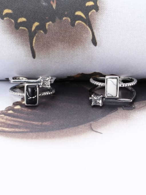 ACE 925 Sterling Silver Black Rectangle Trend Solitaire Ring 1