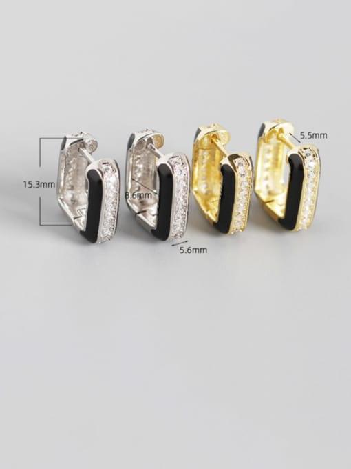 ACE 925 Sterling Silver Cubic Zirconia Geometric Artisan Stud Earring 4