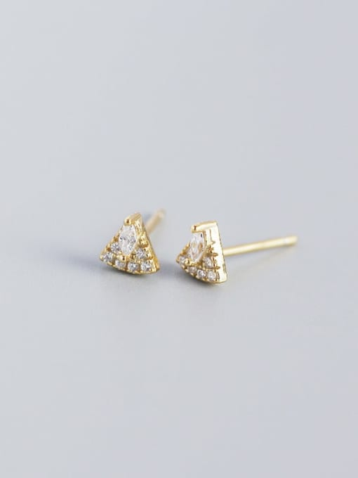 Golden 925 Sterling Silver Cubic Zirconia Triangle Vintage Stud Earring