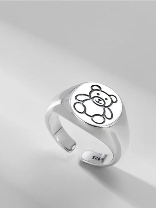 Bear ring 925 Sterling Silver Bear Vintage Band Ring