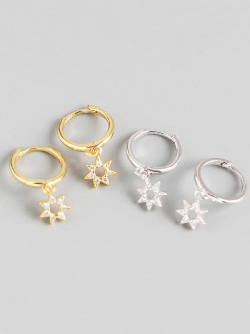 ACE 925 Sterling Silver Rhinestone White Star Cute Huggie Earring