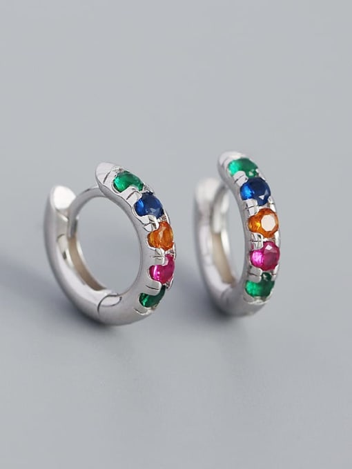 Platinum (colored stone) 925 Sterling Silver Rhinestone Geometric Vintage Huggie Earring