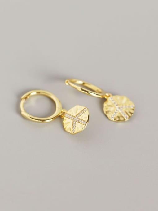 Gold 925 Sterling Silver Geometric Trend Huggie Earring