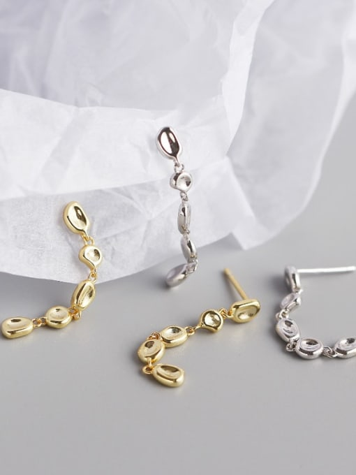 ACE 925 Sterling Silver Cubic Zirconia Geometric Artisan Drop Earring 1