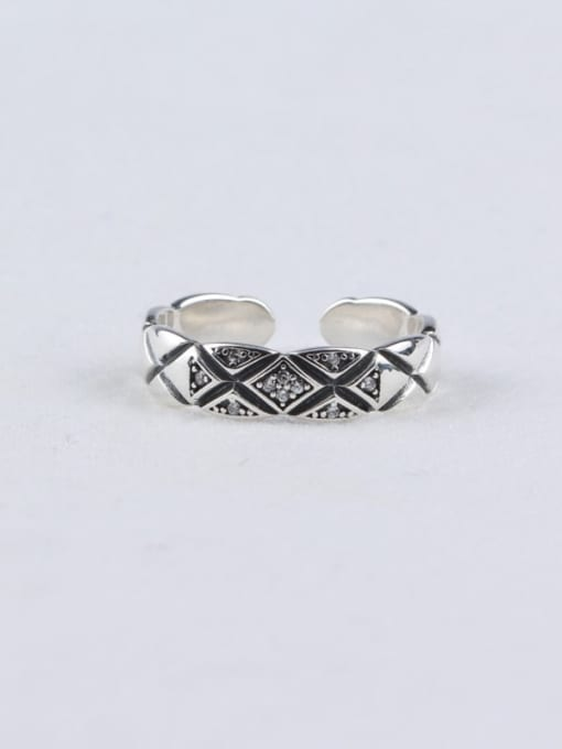 ACE 925 Sterling Silver Cubic Zirconia White Vintage Geometric Band Ring 2