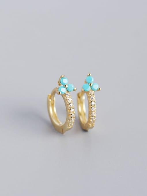 Golden Blue pine 925 Sterling Silver Cubic Zirconia Flower Dainty Huggie Earring