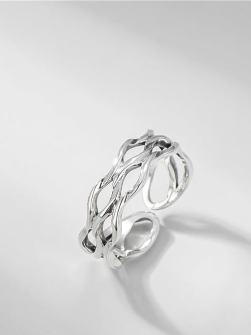 Three layer wave ring 925 Sterling Silver Hollow Geometric Vintage Stackable Ring