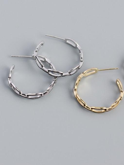 ACE 925 Sterling Silver Cubic Zirconia Geometric Minimalist Hoop Earring