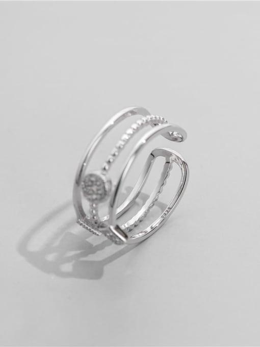 ARTTI 925 Sterling Silver Cubic Zirconia Geometric Minimalist Stackable Ring 2
