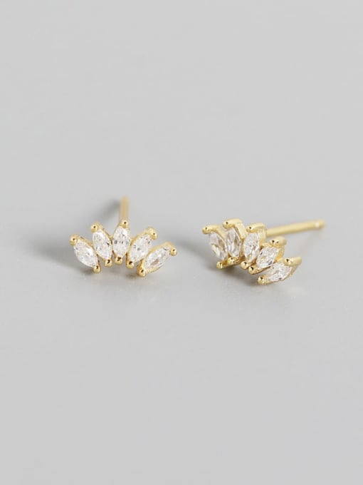 Gold 925 Sterling Silver Cubic Zirconia Leaf Artisan Stud Earring