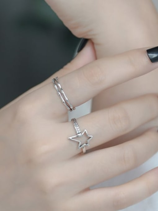 ARTTI 925 Sterling Silver Hollow Five Pointed Star  Vintage Band Ring 1
