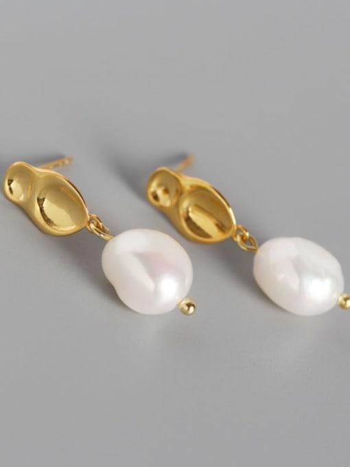 ACE 925 Sterling Silver Freshwater Pearl Geometric Minimalist Drop Earring 1