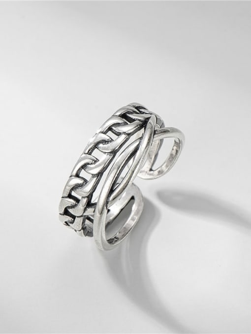 Double chain ring 925 Sterling Silver Irregular Vintage Stackable Ring
