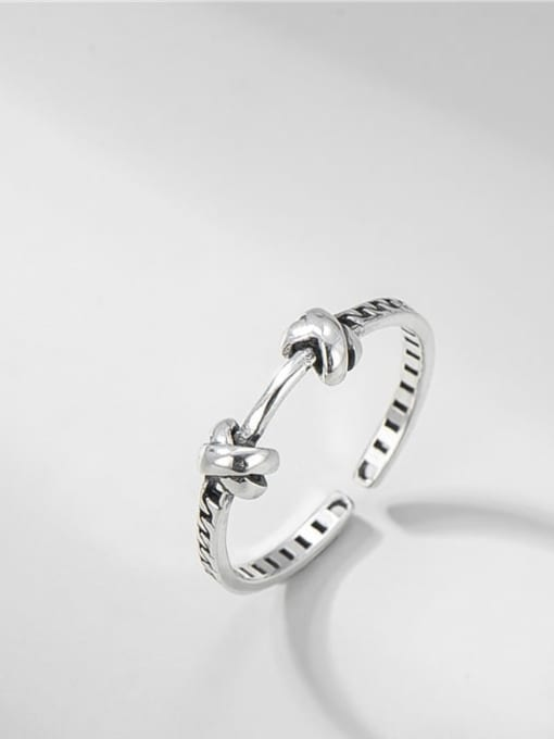 Knotted chain ring 925 Sterling Silver  Vintage Knotted Chain Band Ring