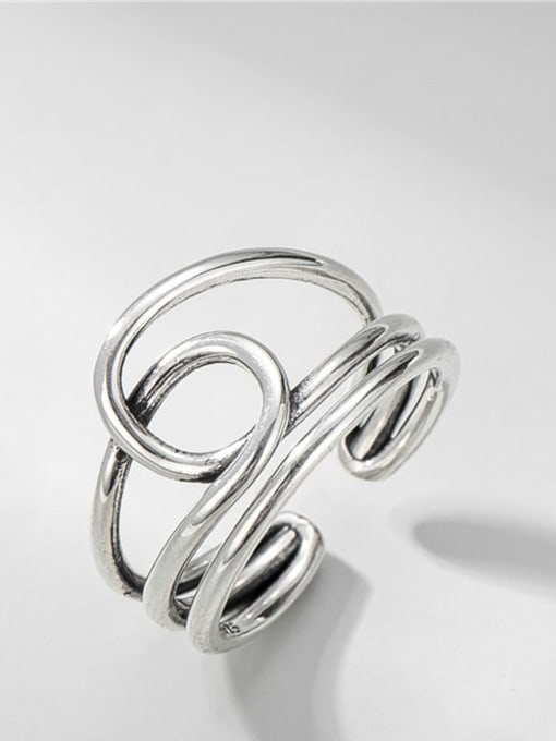 Multilayer ring 925 Sterling Silver Geometric Vintage Stackable Ring