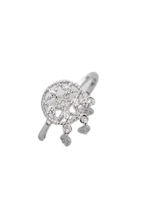 ARTTI 925 Sterling Silver Cubic Zirconia Tassel Vintage Band Ring 2