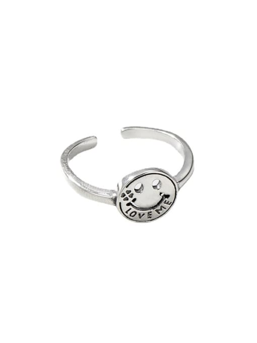 ARTTI 925 Sterling Silver Smiley Vintage Band Ring 3